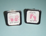 Keepsake Custom Made Square Personalised handprint and Footprint Cufflinks
