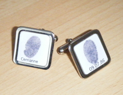 Keepsake Custom Made Square Personalised Fingerprint Cufflinks