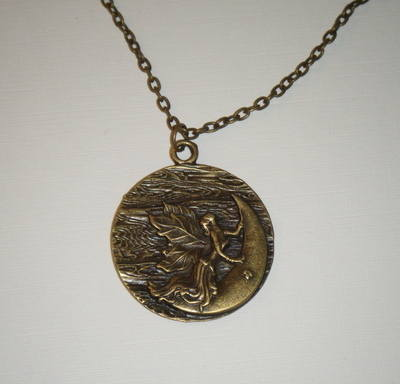 Necklace - Bronze tone - Fairy and the Moon Pendant