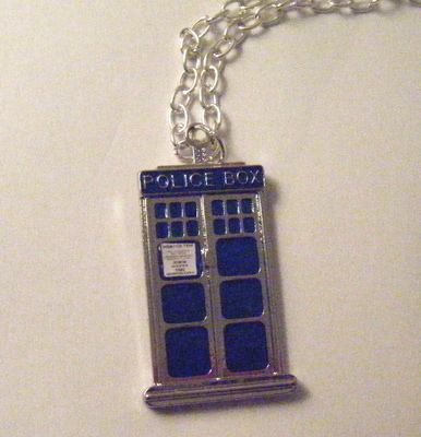 Tardis Police Box Silver Plate Chunky Necklace