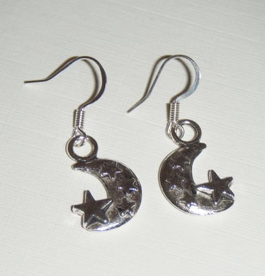 Crescent Moon and Stars Fun Silver tone Earrings