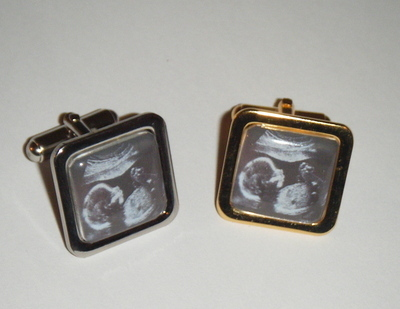 Keepsake Custom Made Square Personalised Baby Scan Picture Cufflinks