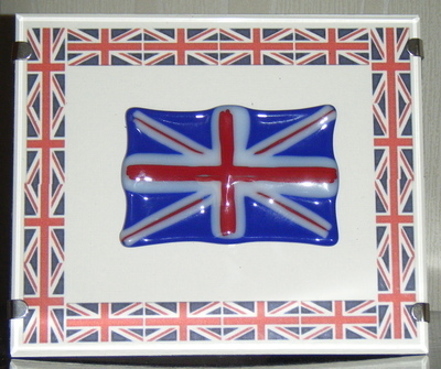 Glass Union Jack Flag Picture Framed
