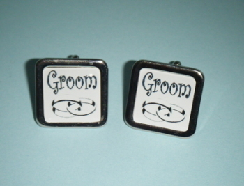Black on white GROOM Cufflinks