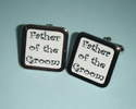 Black on white FATHER of the GROOM Cufflinks