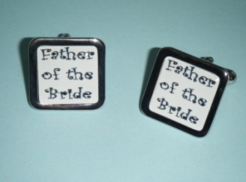 Black on white FATHER of the Bride Cufflinks