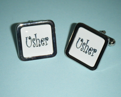 Black on white USHER Cufflinks