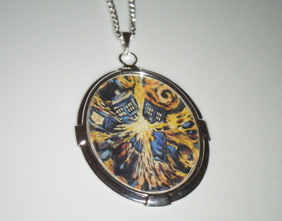 Dr Who Inspired Van Gogh Tardis explosion - Large Oval Silver Plate Pendant