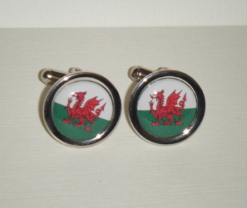 Welsh Flag Dragon - Round Cufflinks