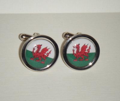 Welsh Flag Dragon - Round Cufflinks