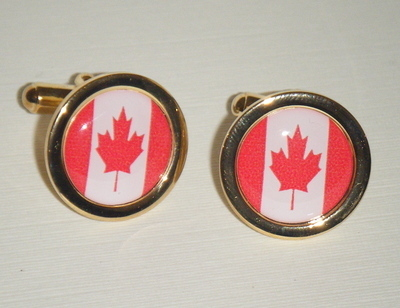 Maple Leaf - Red and White Canada Flag - Round Cufflinks