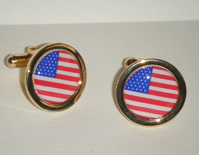 Stars and Stripes - Red and White American Flag - Round Cufflinks
