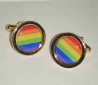 Rainbow Gay pride - Round Cufflinks