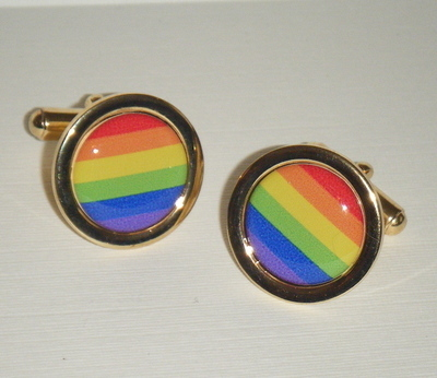Rainbow Gay pride - Round Cufflinks