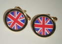 Union Jack UK British - Round Cufflinks