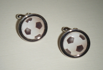 Black and White Casey Football Cufflinks