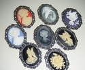 Large Pewter Framed Cameo Pin Brooch in various designs