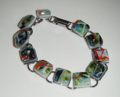 Green Forest Fused Mosaic Glass Tile Bracelet