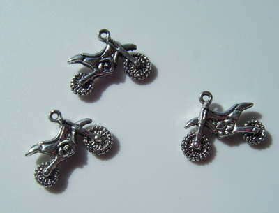 Dirt Bike Charms - Tibetan Antique Silver tone