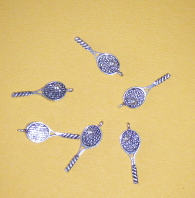 Tennis Racket and ball Charms - Tibetan Antique Silver tone