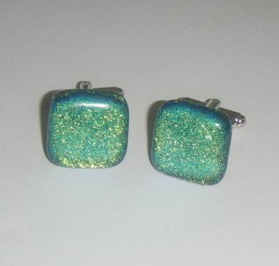 Aquamarine Dichroic Glass Cufflinks