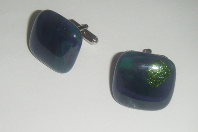 Green swirl fused Glass Cufflinks
