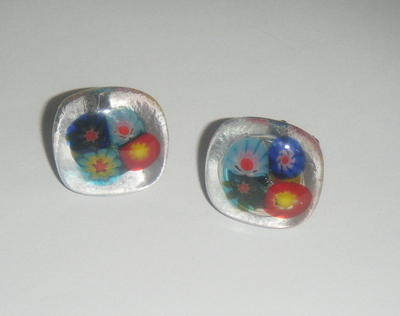 Millefiori fused Glass Cufflinks