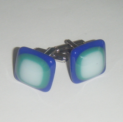 Blue, white and Green fused Glass Cufflinks