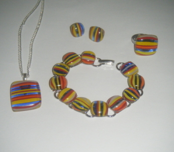 Multi Colour Stripes Glass Cabochon Set