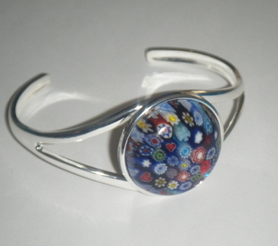 Blue 25mm Millefiori Cabochon Glass Cuff Bangle Bracelet