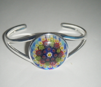 Hearts multi colour 25mm Millefiori Cabochon Glass Cuff Bangle Bracelet