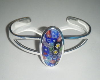 Blue 29mm x 14mm Millefiori Cabochon Glass Cuff Bangle Bracelet