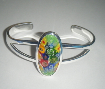 Green 29mm x 14mm Millefiori Cabochon Glass Cuff Bangle Bracelet