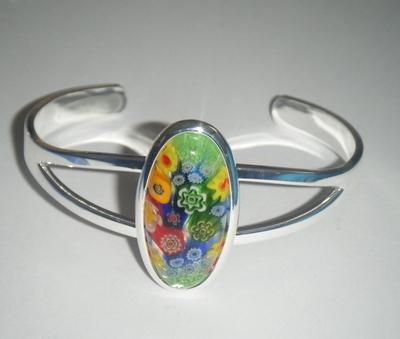 Green 29mm x 14mm Millefiori Cabochon Glass Cuff Bangle Bracelet