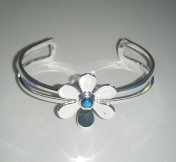 Daisy Flower Silver Plate Cuff Bangle Bracelet With Blue Abalone Shell