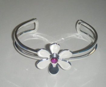 Daisy Flower Silver Plate Cuff Bangle Bracelet With Pink Abalone Shell