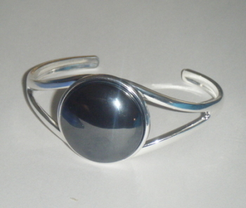 Silver Hematine 25mm  Cabochon Cuff Bangle Bracelet