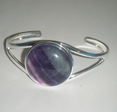 Rainbow Fluorite  Gemstone 25mm  Cabochon Cuff Bangle Bracelet