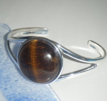 Tigers Eye Gemstone 25mm  Cabochon Cuff Bangle Bracelet