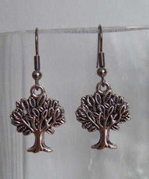 Antique Silver Tone Cute Tree Earrings