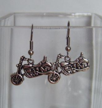 Antique Silver Tone Motor Bike Earrings