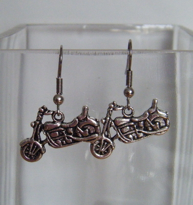 Antique Silver tone Motor Bike Earrings