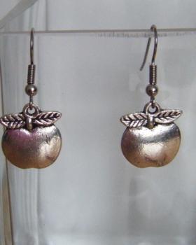 Antique Silver Tone Apple Earrings