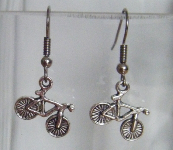 Antique Silver Tone Bike Bicycle Earrings