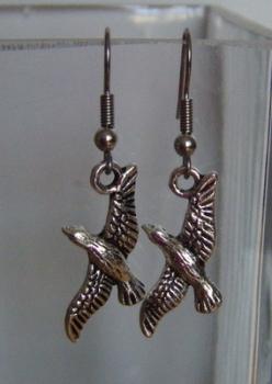 Antique Silver Tone Cute Birds Earrings