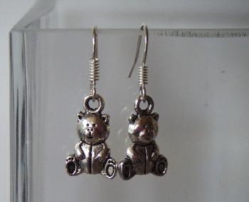 Antique Silver Tone Teddy Bear Earrings