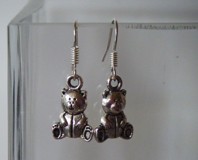 Antique Silver tone Teddy Bear Earrings