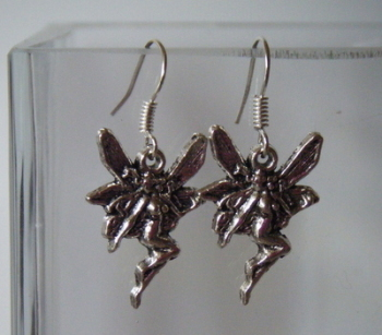 Antique Silver Tone Fairy Earrings