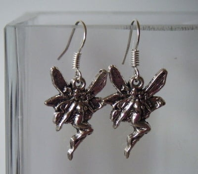 Antique Silver tone Fairy Earrings