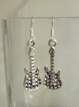 Antique Silver tone Guitar Earrings